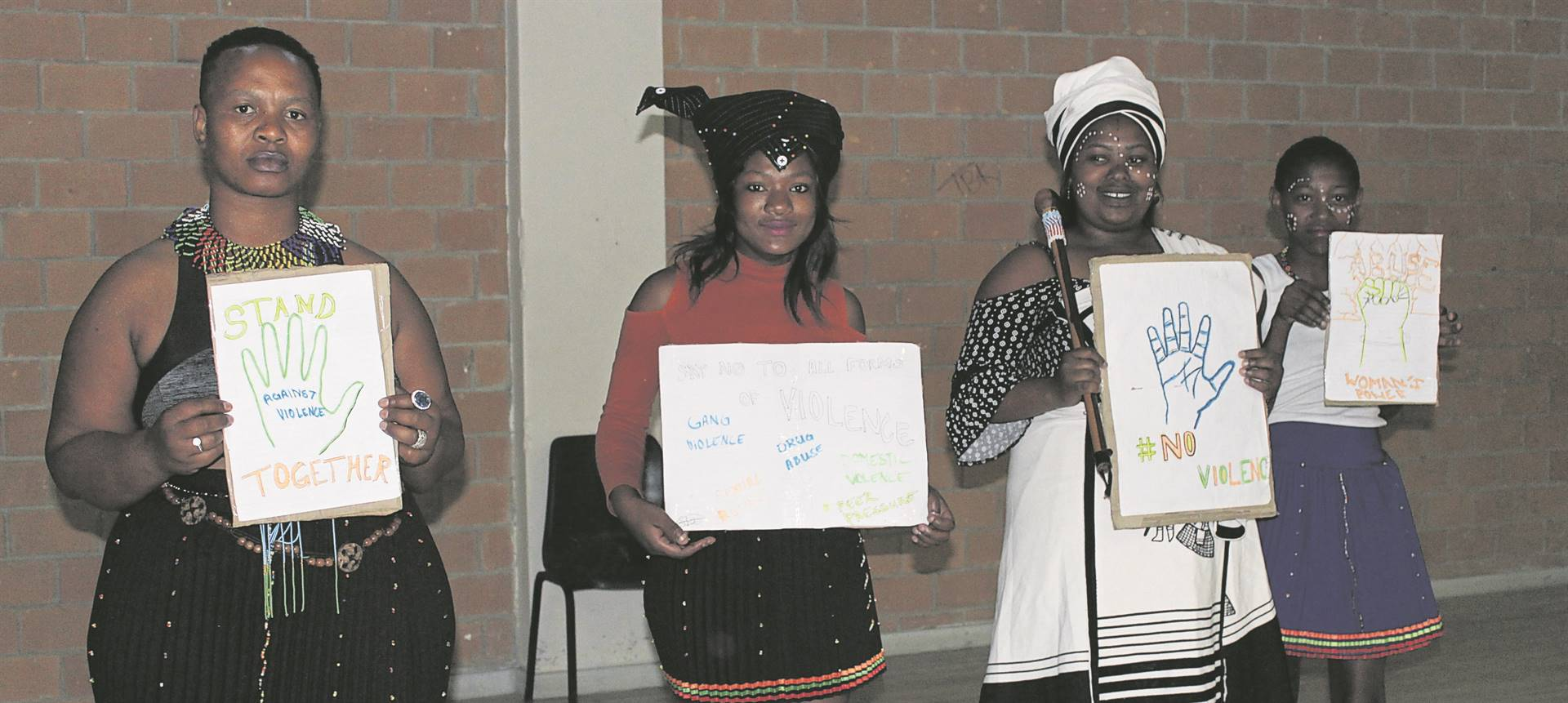 Nwabisa Baartman, Khanyiswa Hulana, Nontsikelelo Maphongwana and Bukiwe Wayiwayi used the Heritage Day celebrations at Nomzamo Community Hall to show support for the countrywide campaign against the abuse of women and children. The four stood on stage with posters displaying messages focused on this issue affecting people across the country.PHOTOS: MZWANELE MKALIPI