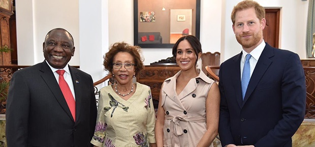 President Cyril Ramaphosa, First Lady Dr Tshepo Motsepe with Duchess Meghan and Prince Harry. (Photo: Twitter)