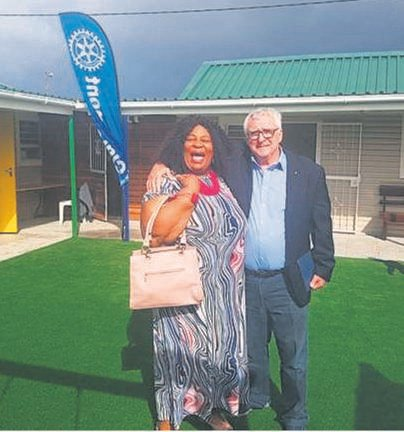 School principal of the Christian Church Educare centre, Nozipho Methuko with Rotarian David Grant at the official opening of the newly refurbished educare centre.
