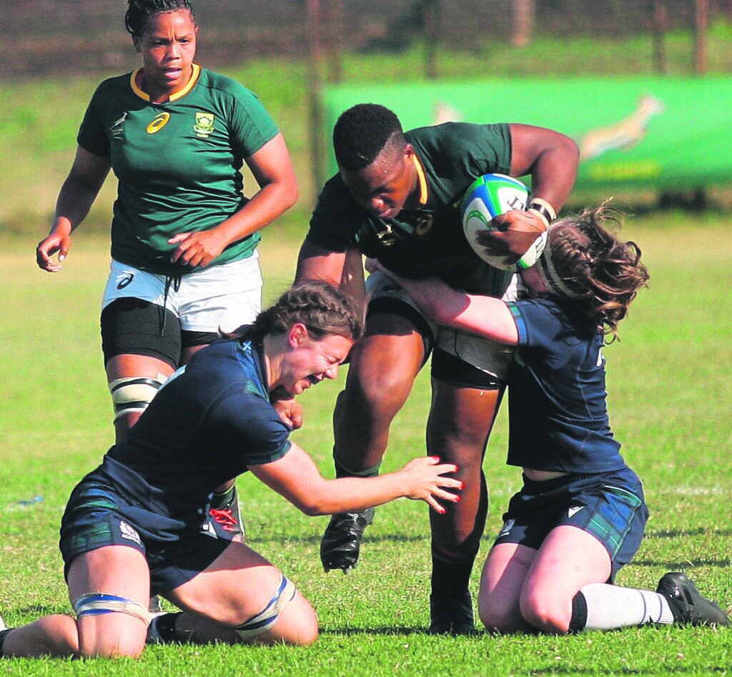 Springbok and WP women's captain, Babalwa Latsha, became a handful for Louis McMillan (left) and Lana Skeldon as she made her way to the try line.    PHOTO: Rashied Isaacs