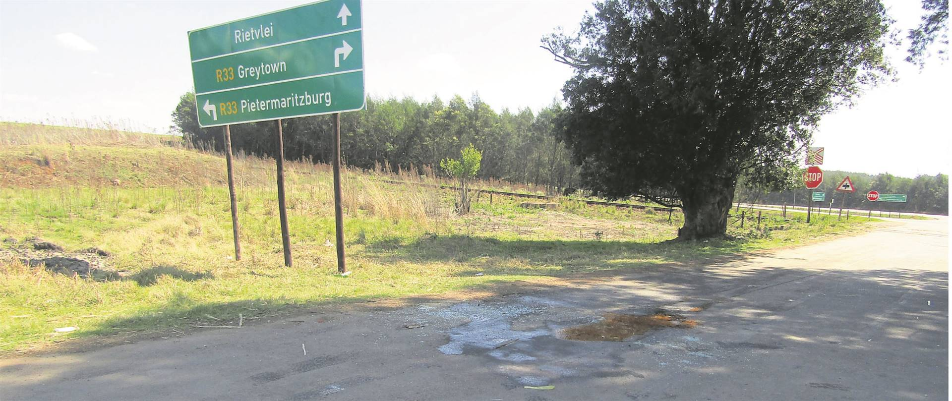 Blood stains at the scene where the two police officers were killed. photo: andile sithole