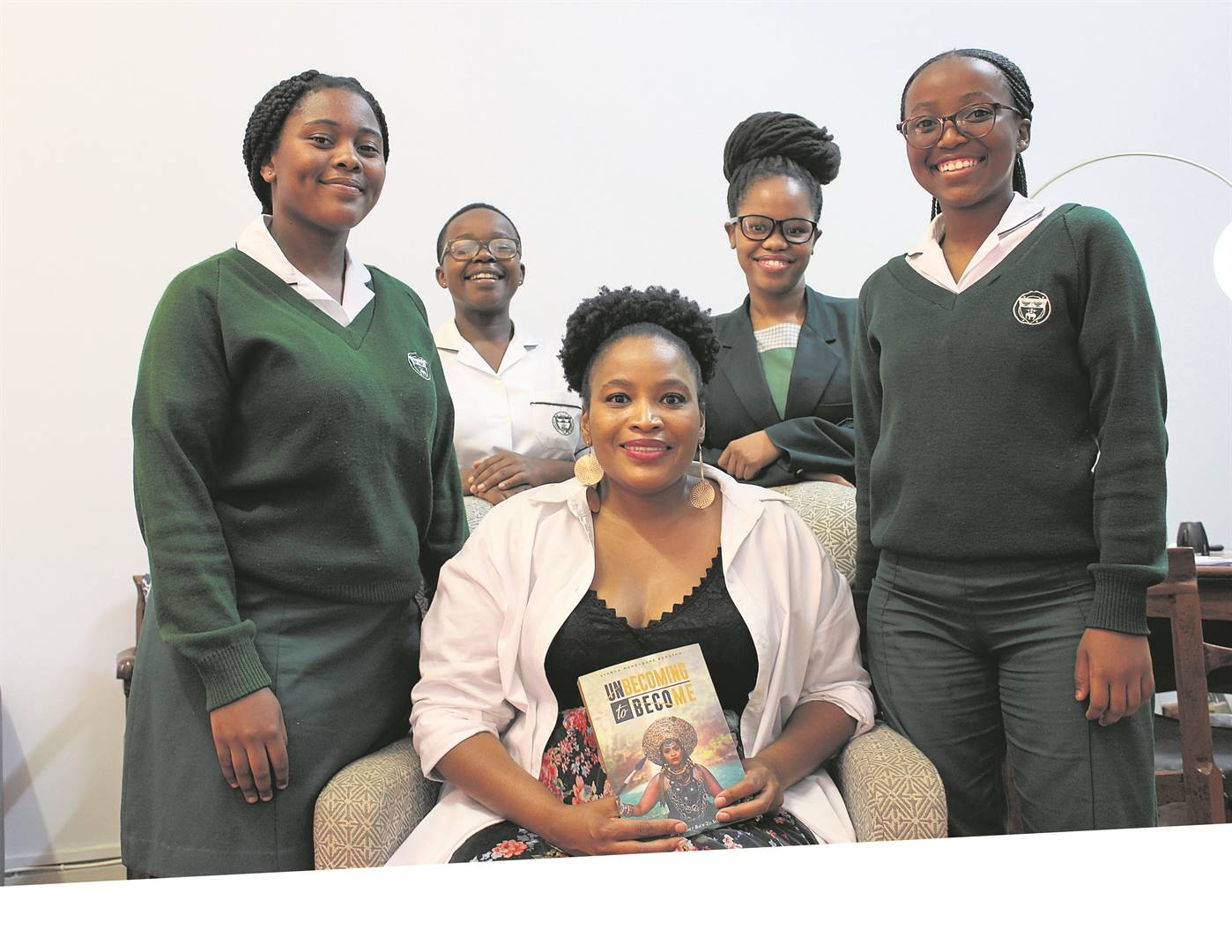 Pupils and staff at Pietermaritzburg Girls' High School were honoured to have Isibaya actress and now author, Ayanda Borotho, chat to them as part of the launch of her book, Unbecoming to Become. Borotho has a special connection to GHS principal, Andrew Graaf, who was her English teacher from Grade 9 to matric, and mentions him in the book as the person who introduced her to storytelling and the reason she fell in love with stories. The talk was inspirational, relatable and mostly enjoyed by all. With Borotho is Aphelele Ndwandwe (back, left), Asanda Goba, Nozipho Kubone (front, left) and Karabelo Lefefa.PHOTO: SUPPLIED