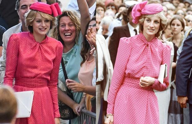 Emma Corrin and Princess Diana.