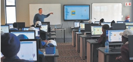 Students learning Coding at the Marematlou Training Institute's campus in Bloemfontein.