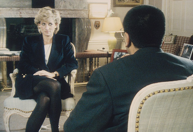 Martin Bashir interviews Princess Diana in Kensington Palace for the television program Panorama in 1995.