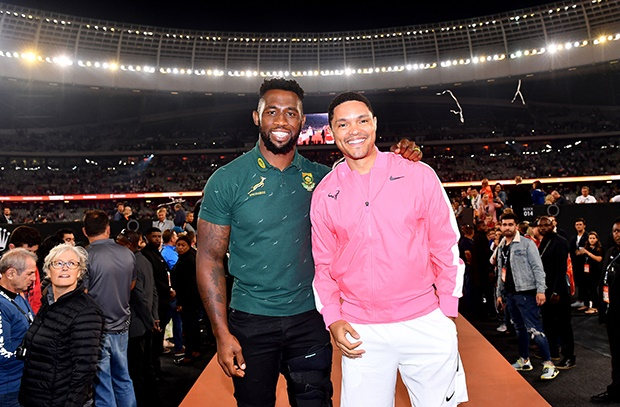Siya Kolisi and Trevor Noah during the Match in Africa. (Photo by Ashley Vlotman/Gallo Images)