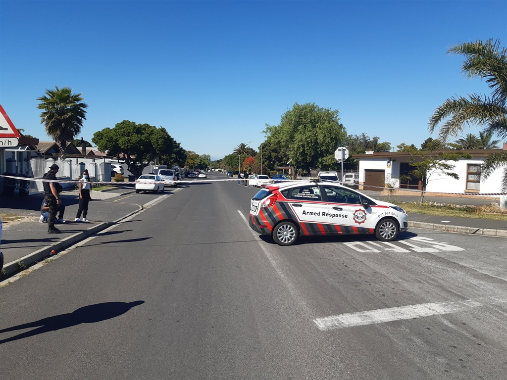 A quieter morning on Tuesday in the road leading to Brackenfell High School following violent scenes the day before.