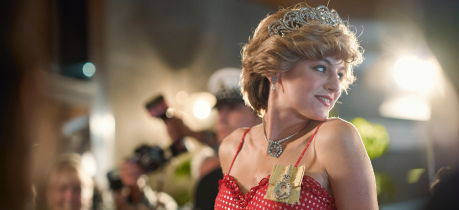 Emma Corrin as Princess Diana in The Crown, streaming from Sunday.