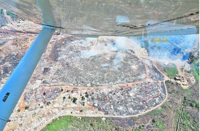An aerial view of the extent of the fire ravaging the New England landfill site. PHOTO: MSUNDUZI MUNICIPALITY