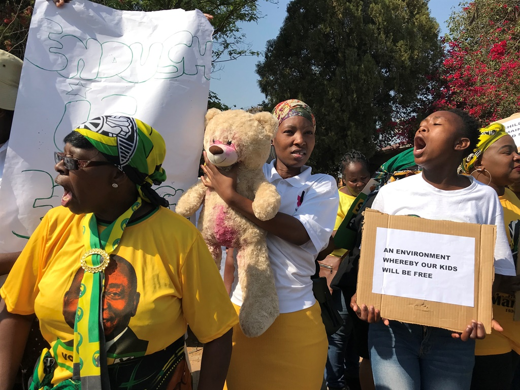 ANC Women's League members protesting outside the Mamelodi Magistrate's Court where a 26-year-old man accused of raping a  6- year-old girl, appeared. (Alex Mitchley, News24)