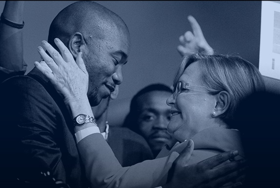 Newly elected DA leader, Mmusi Maimane with his Helen Zille at the partyâ??s federal conference on May 10, 2015 in Port Elizabeth, South Africa. Yesterday, Maimane was elected as the DAâ??s new leader, making him the first black leader of the party. (Photo by Gallo Images / City Press / Muntu Vilakazi)