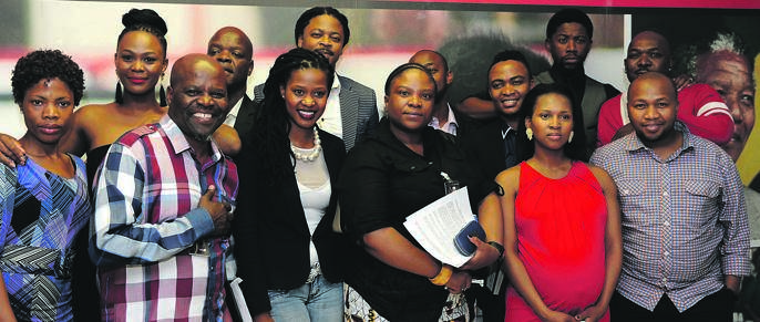 Patrick Shai, in the checked shirt (far left), after a meeting with Cosatu leaders following their sacking from the soapie Generations for demanding better pay and benefits.Picture: Jabu Kumalo
