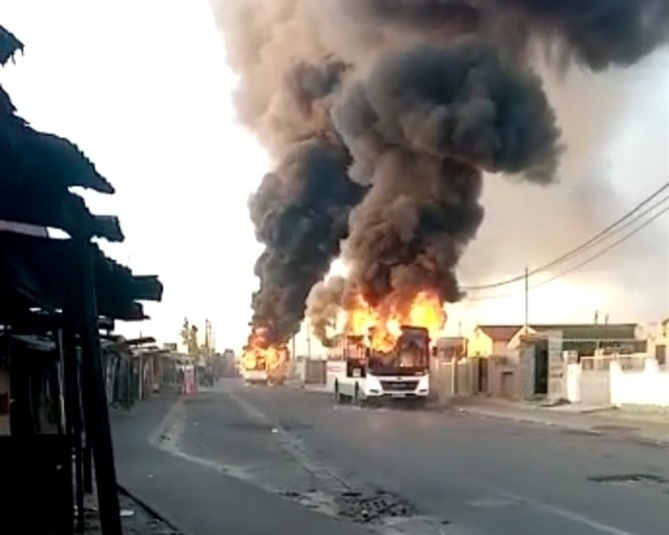 Buses torched  in Khayelitsha.