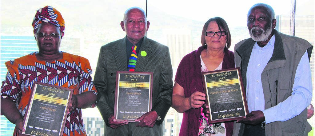 Community Champions Elders Awards winners in the age 70 to 80 years category, Lydia Nogaga (Masiphumelele) came in third place, Danny Brown (Elsies River) was the runner-up, and Minnie and Daniel Hoorn (Capricorn) won the category first prize. PHOTO: TARRYN-LEIGH SOLOMONS