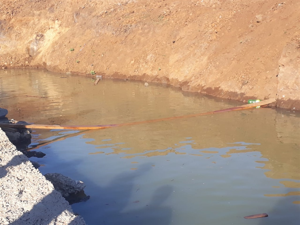 The trench in Venda in which two siblings drowned on Saturday.