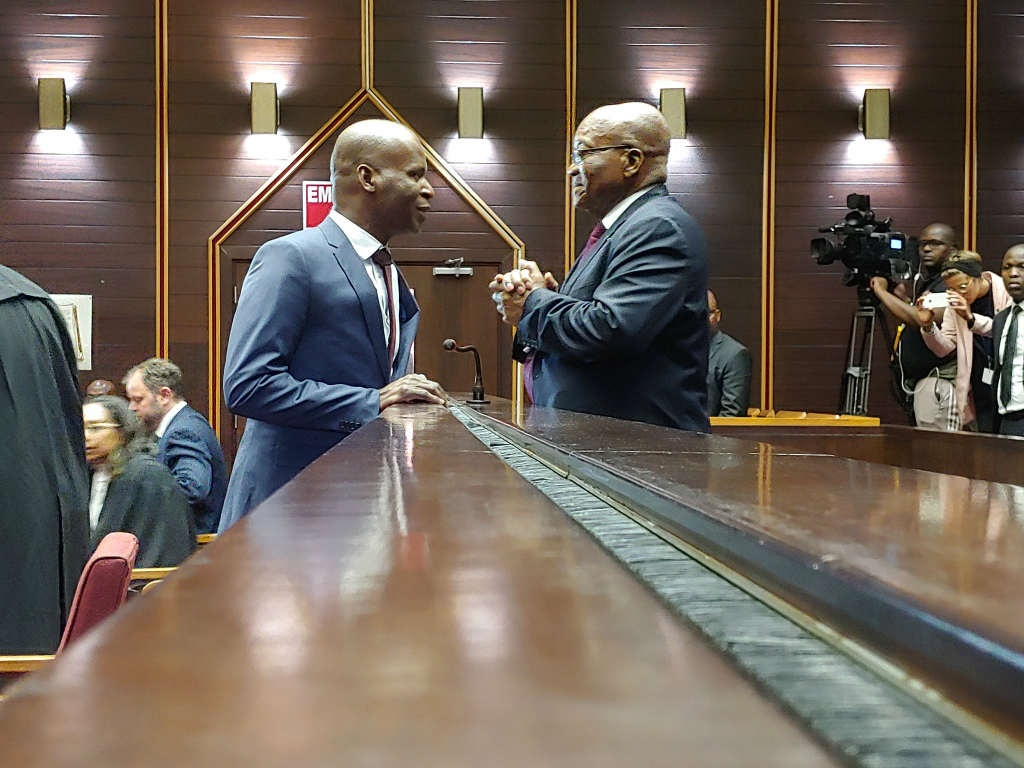 Former president Jacob Zuma consults with his lawyer Daniel Mantsha in the KwaZulu-Natal High Court in Pietermaritzburg. (Kaveel Singh/News24)