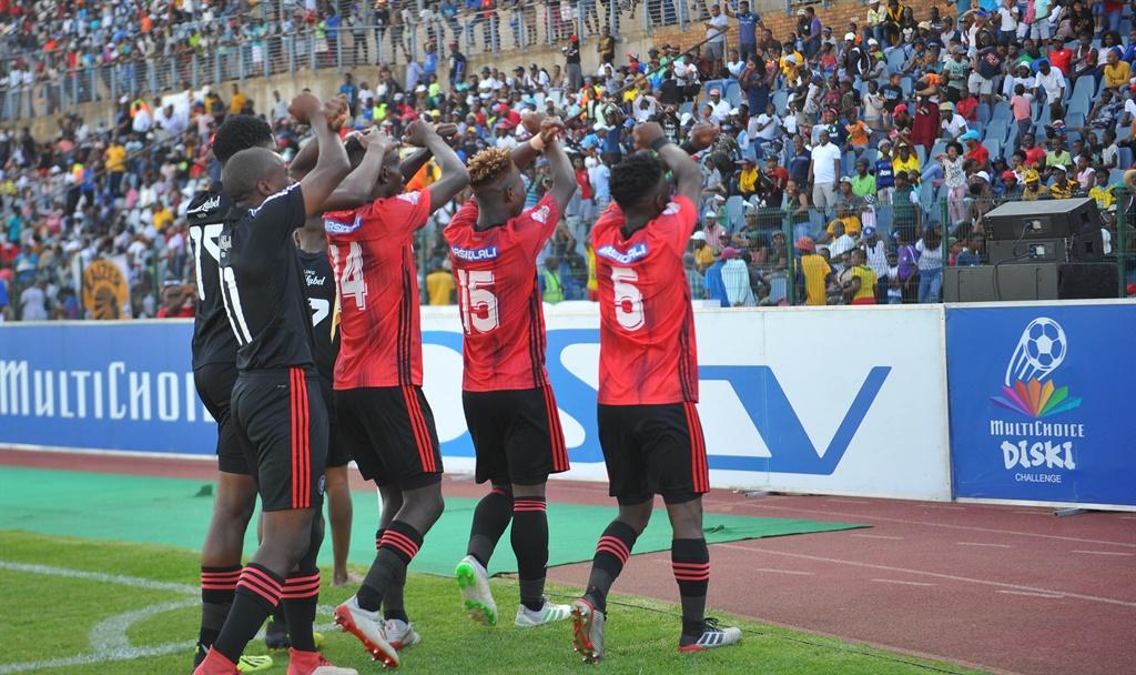 Simiso Bophela of Orlando Pirates celebrates goal