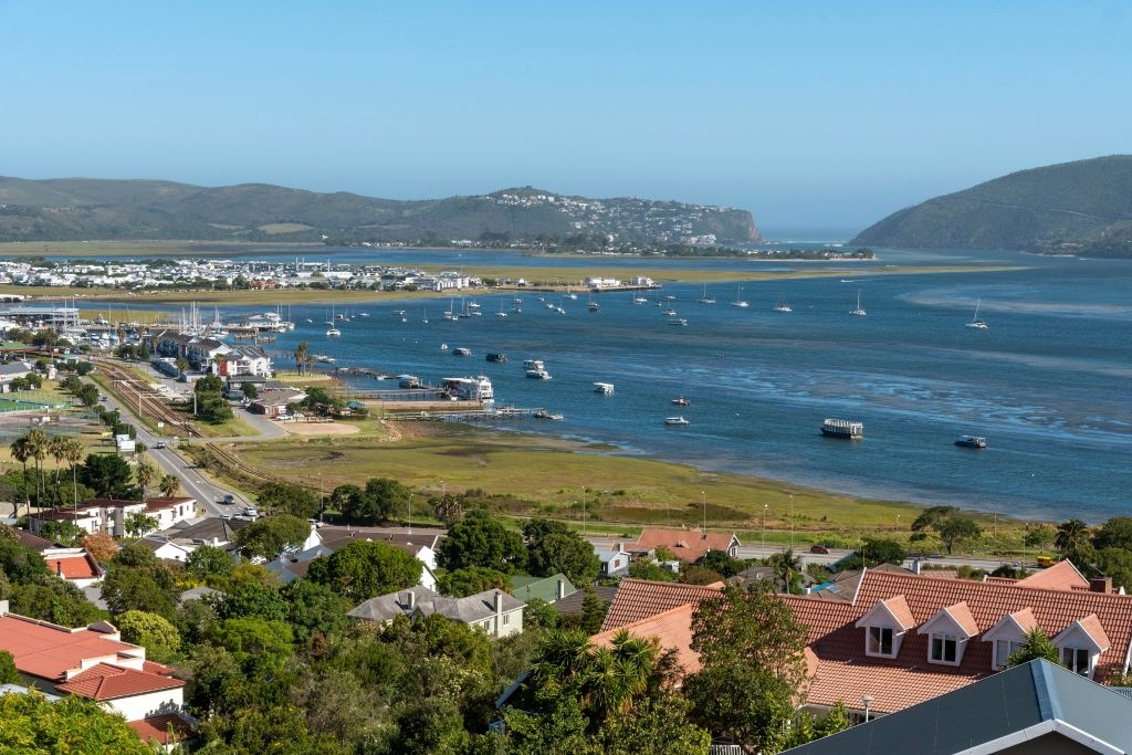 An overview of Knysna and the lagoon on the Garden Route. (Photo by: Peter Titmuss/Education Images/Universal Images Group via Getty Images)