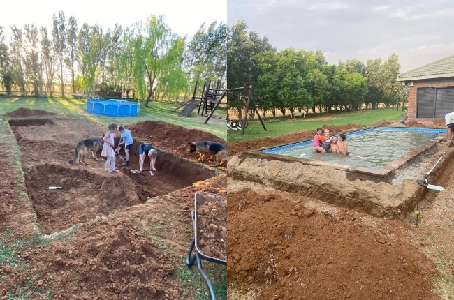 Philip and Janco Weldhagen – with a little help from little sister Anje – get to work building their swimming pool. (Photo: Facebook/Geen Pretensie)