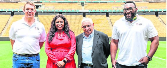 """John Smit (former Springbok captain), Kudzi Mathabire (sponsorship brand director) Mark Alexander (president of SA Rugby) and Tendai """"Beast"""" Mtawarira (former Springbok) attended the media announcement regarding the British and Irish Lions' tour to South Africa. The sponsorships were announced in Johannesburg on 5 November.Photo: Supplied"""
