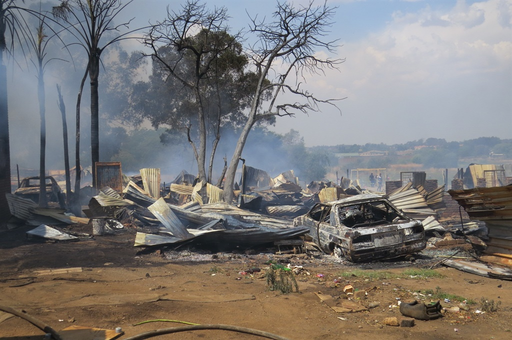 The aftermath of the fire which swept through an informal settlement in Kempton Park on Friday afternoon. (Supplied)
