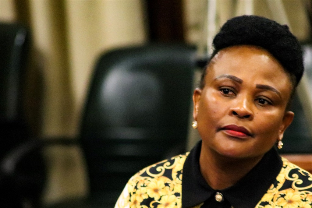 Public Protector Busisiwe Mkhwebane listens to MPs questions at a meeting of the Portfolio Committee on Justice and Correctional Services on Friday. (Jan Gerber/News24)