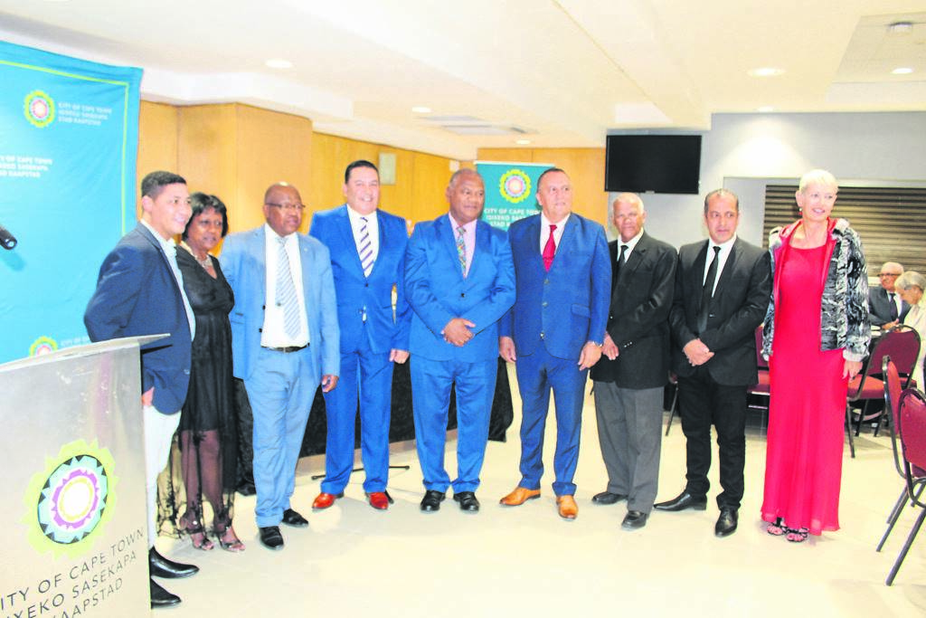 Wilfred Schrevian Evan, Jermayne Andrews, Willie Jafhta, Garin Cavanagh, Dan Plato, Mark Kleinschmidt, George March, Rashid Adonis and Christa Liebenberg all represented the city at the subcouncil 17 civic awards. PHOTO: Lebogang Tlou