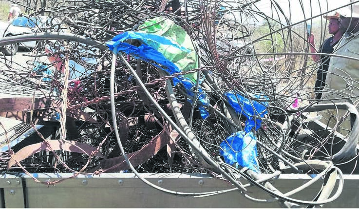 Bakkies were laden with snares and rubbish collected by volunteers in the Bisley Nature Reserve on Sunday. PHOTO: Gail Gayer