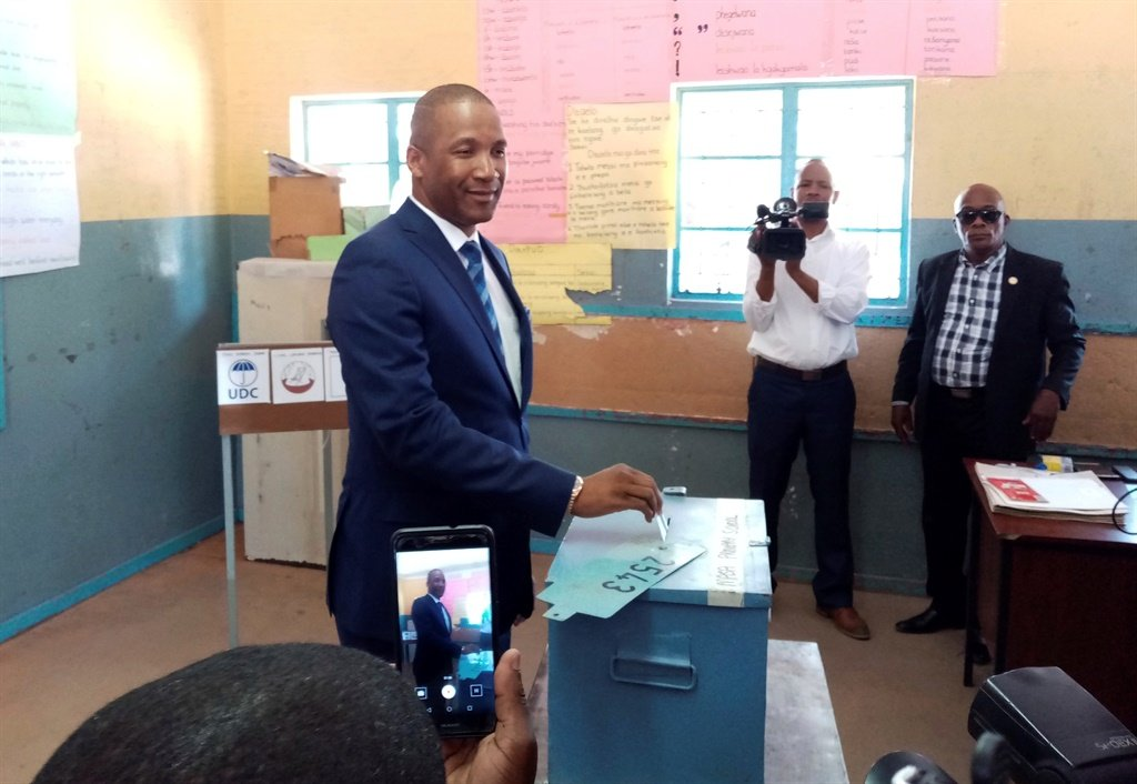 Opposition coalition Umbrella for Democratic Change presidential candidate, Duma Boko, casts his vote in Gaborone Wednesday Oct. 23, 2019. Polls opened in Botswana as the long peaceful southern African nation faces what is expected to be a tight election. Picture:AP Photo/Sello Motseta