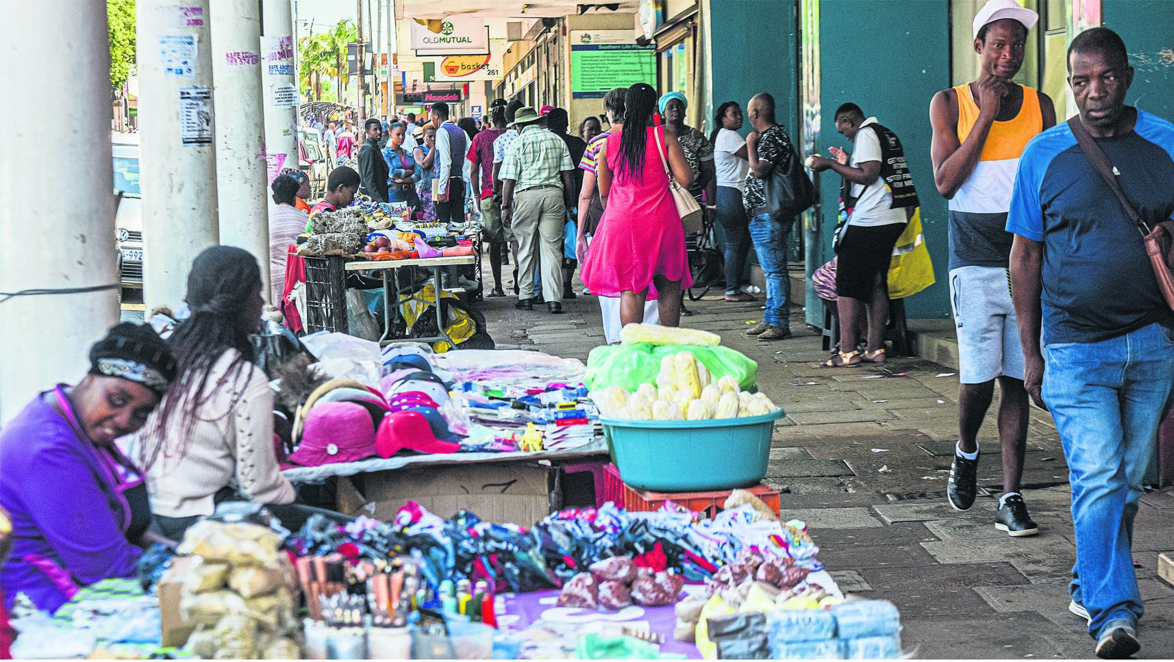 Street vendors selling a variety of items on Church Street. PHOTO: moeketsi mamane