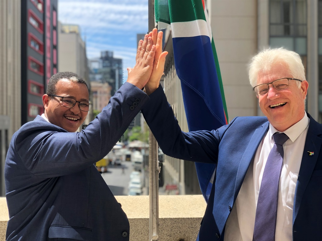 Premier Alan Winde congratulates Harry Malila on his appointment as director general. (Photo: Supplied, Larissa Venter)