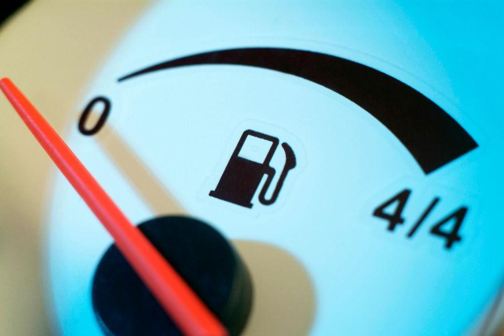 Fuel consumption showing empty petrol tank. (Photo