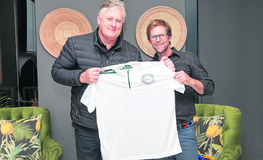 Brian McMillan and Jonty Rhodes at the launch of the Evergreen Lifestyle Cape Veterans T20 League at Rondebosch Cricket Club last week.