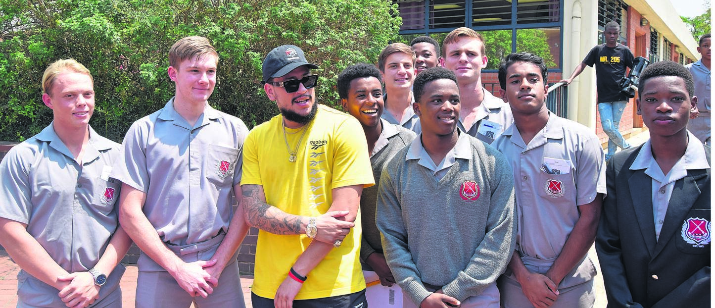 On Wednesday, October 23, Maritzburg College, the home of the RedBlackWhite, was very proud to host South African rapper AKA, who spent time with our boys and toured the school. The visit was part the promotion of his latest album and upcoming concert. PHOTO: supplied