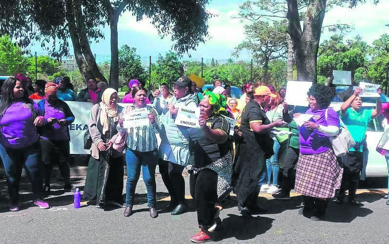 Angry ECD representatives protesti outside the Wynberg Magistrate's Court.