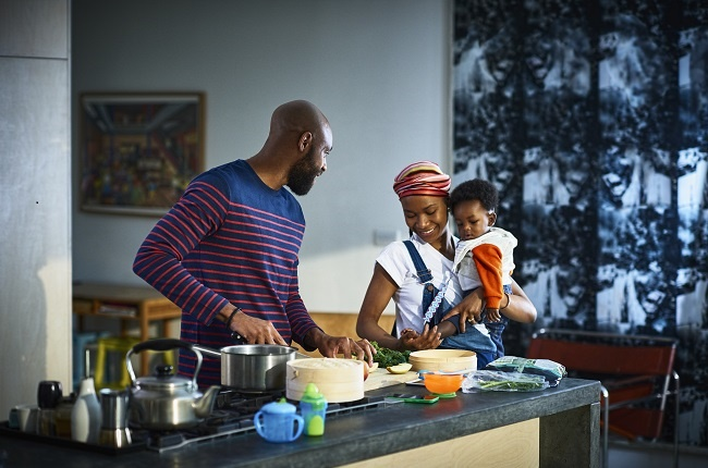 The open kitchen is a great place to de-stress and spend quality time together with your partner.