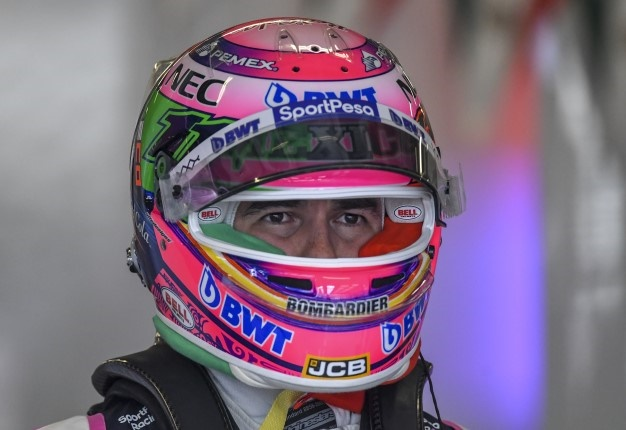 Racing Point's Mexican driver Sergio Perez is seen on the pit during the second practice session of the Mexican Grand Prix, at the Hermanos Rodriguez circuit in Mexico City on October 25. PEDRO PARDO / AFP