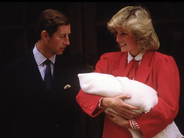Prince Charles, Princess Diana with newborn Prince Harry (David Levenson. Photo: Getty/Gallo Images)