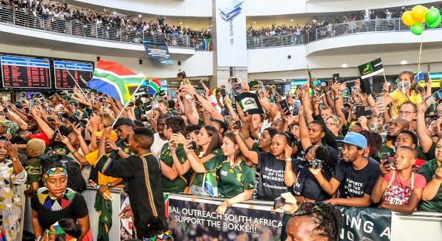 Supporters during the South African national rugby team arrival media conference at OR Tambo International Airport on November 05, 2019 in Johannesburg, South Africa. (Photo by Sydney Seshibedi/Gallo Images)