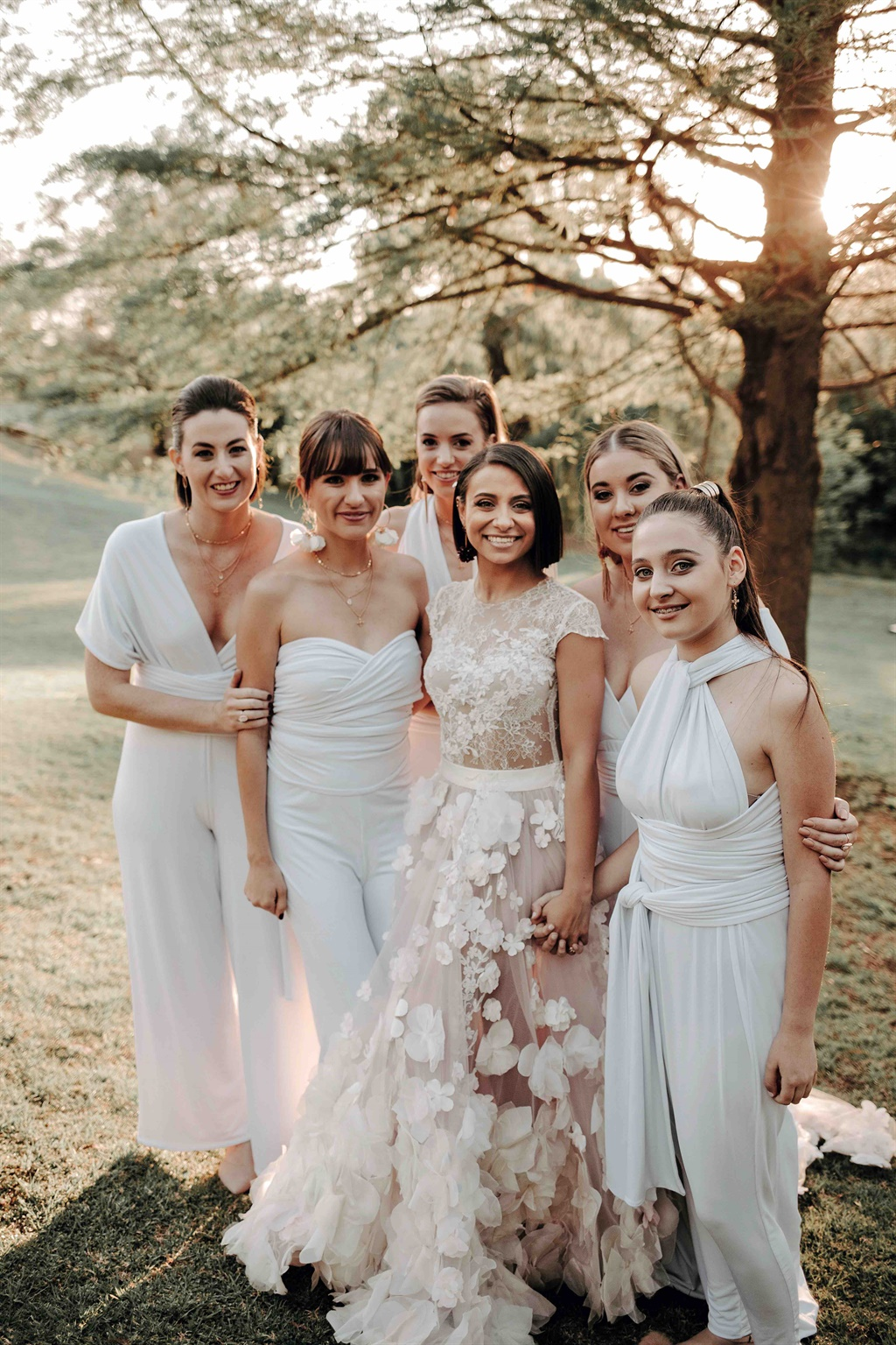 White infinity dresses bridesmaids