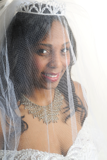 Beautiful African American Bride in a Veil