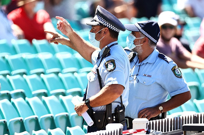 Police monitor the crowd following a complaint by India's Mohammed Siraj about spectators during day four of the third Test between Australia and India at the Sydney Cricket Ground on 10 January 2020.