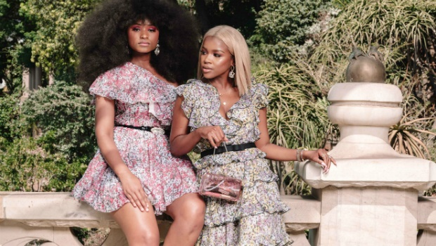 Nomalanga Shozi and Melody Molale in items from the new H&M x Giambattista Valli collection at Shepstone Gardens, Johannesburg - Photographed by Austin Malema