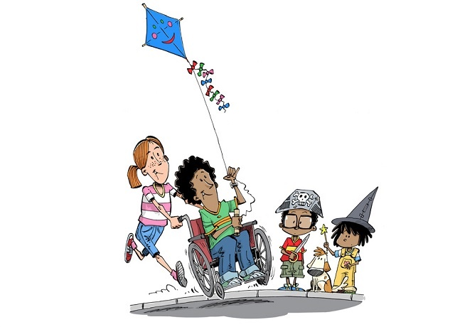 illustration of children playing with kite