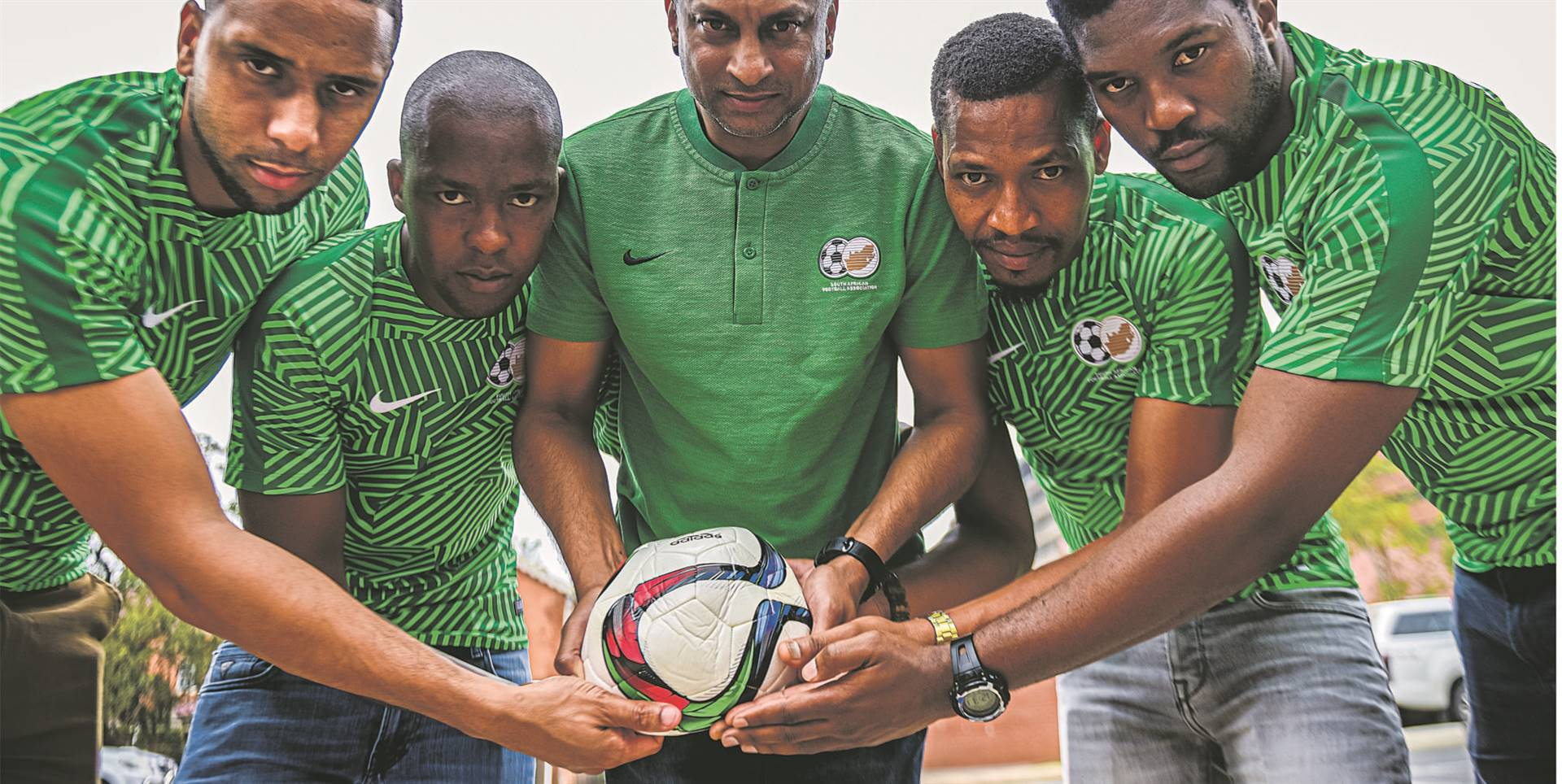 Some of the local players in South Africa's futsal team: Renaldo Donnelly, Tsepo Liphulo, the coach Gregory Nair, Enva Wiltwer and Simphiwe Mgedezi. There are serious concerns about their preparations because of a lack of facilities in the city. PHOTO: Moeketsi Mamane
