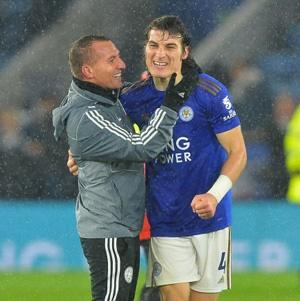 Brendan Rodgers and Caglar Soyuncu