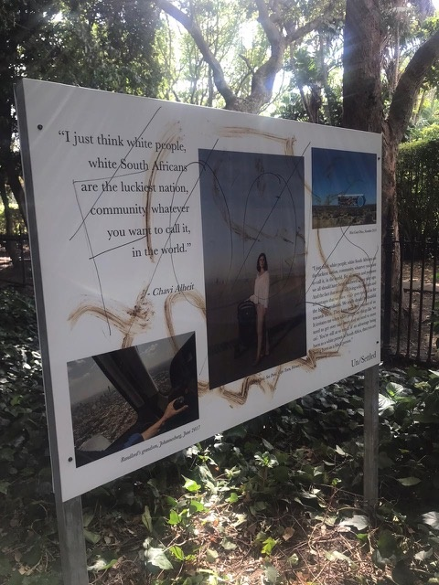 Faeces and permanent marker on the photo exhibition in the Company's Garden in Cape Town. (Supplied by Sydelle Willow Smith)
