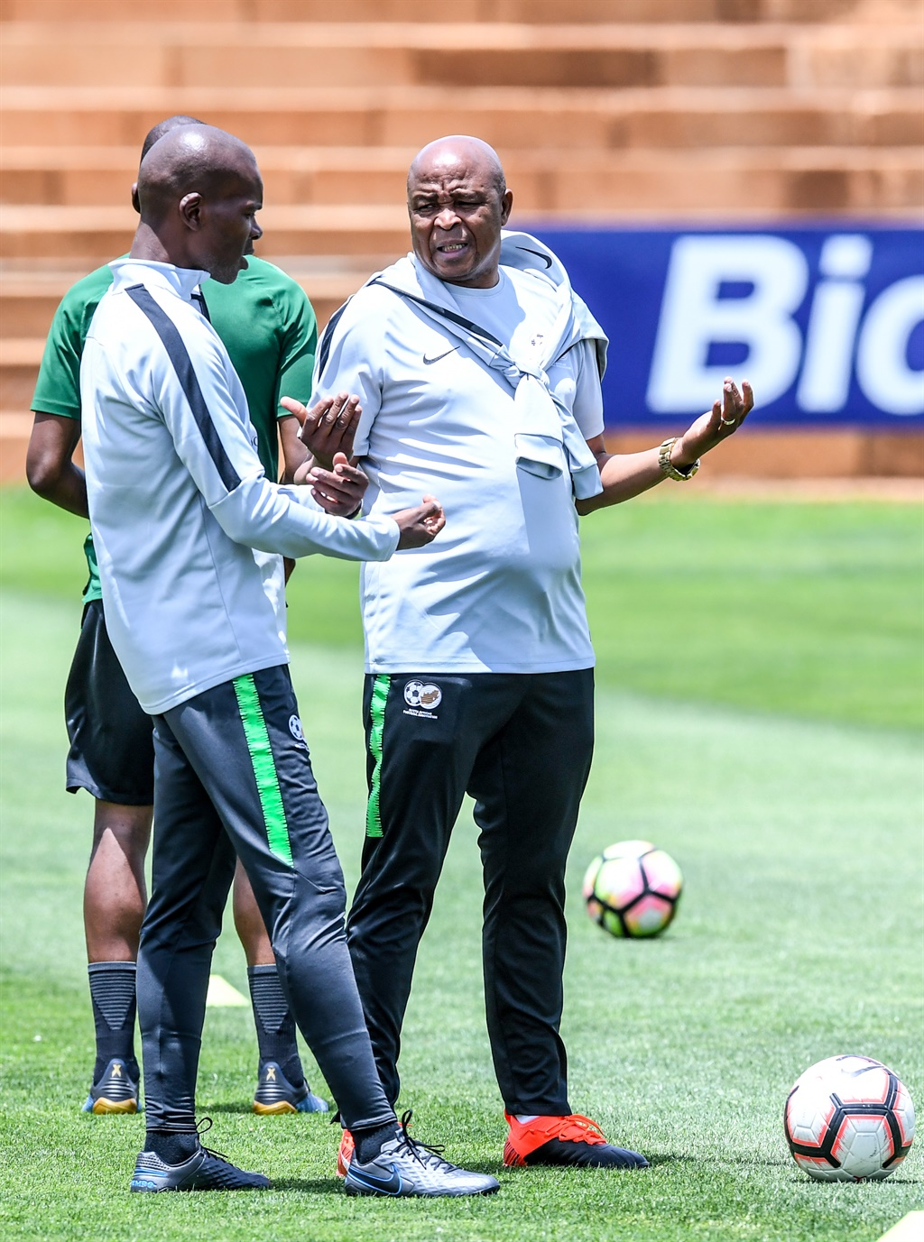 Bafana Bafana coach Molefi Ntseki discusses matters with his coaching staff ahead of their opening Afcon qualifier match against Ghana. Picture: Sydney Seshibedi/Gallo Images