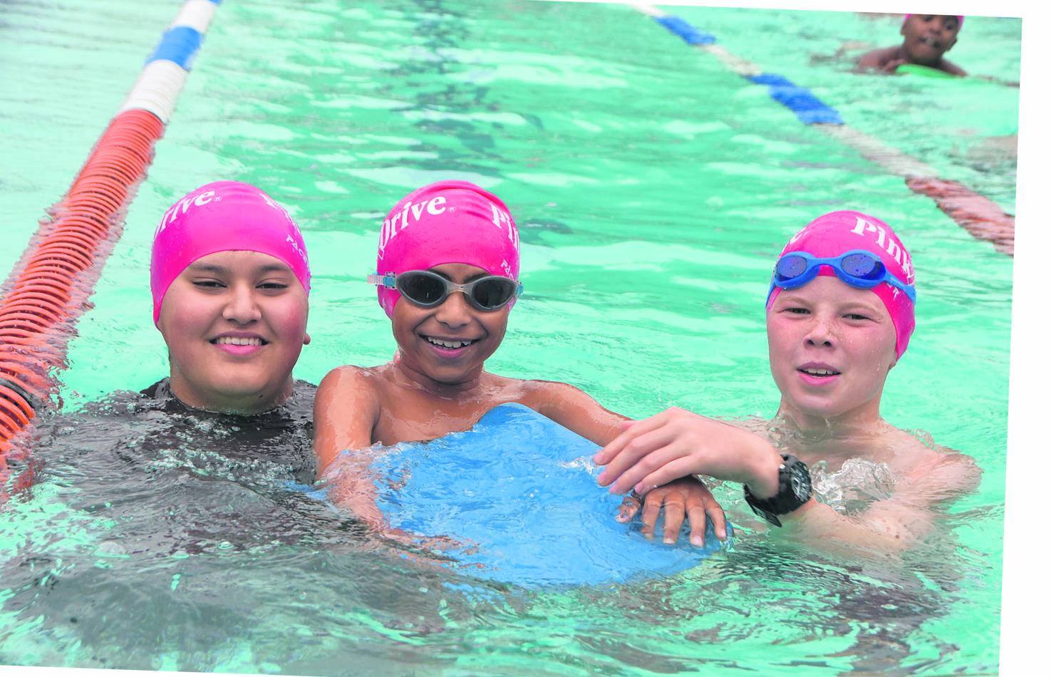 Cordwalles Preparatory School PinkDrive Swimathon 2019 was an amazing success. The Cordies Family Teams really came to the fore on a rather chilly day, banding together to support the initiative. Together they raised over R30 000 for their respective charities. Enjoying the PinkDrive Swimathon are Mahomed Haseeb Moosa (left), Tarik Ramdhani and Murray McHugh.PHOTO: supplied