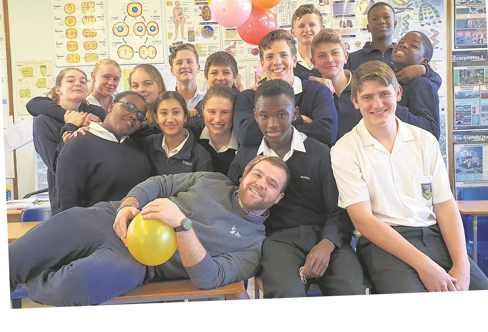 One of Wembley College's favourite teachers, Mr Van Schalkwyk, was surprised by his Form 3 class who hosted a farewell party for him as he will be emigrating next year. PHOTO: SUPPLIED